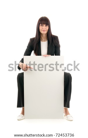 Woman and blank space, on white background.