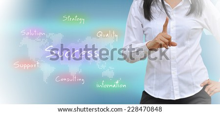 woman and business graph on a touch screen interface  - stock photo