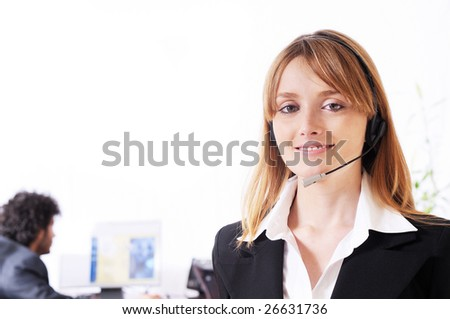 woman and call center, smiling and look in camera