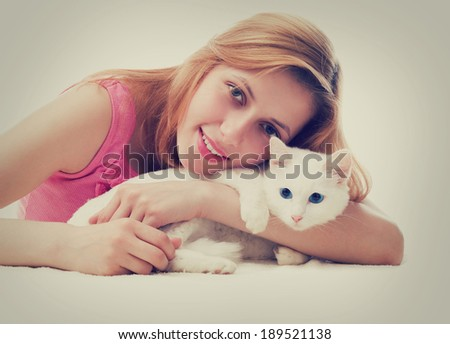 woman and cat - stock photo