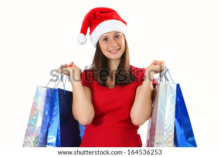 Woman and christmas bags