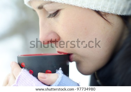 woman and coffee - stock photo