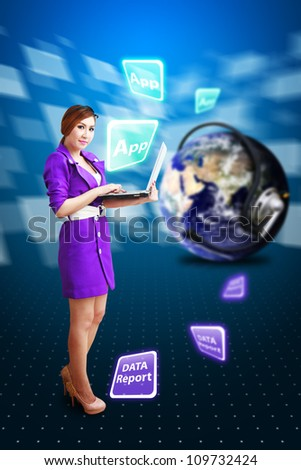 Woman and data report to communication world : Elements of this image furnished by NASA