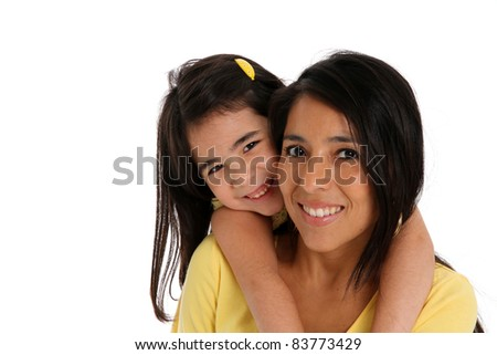 woman and daughter set on a white background