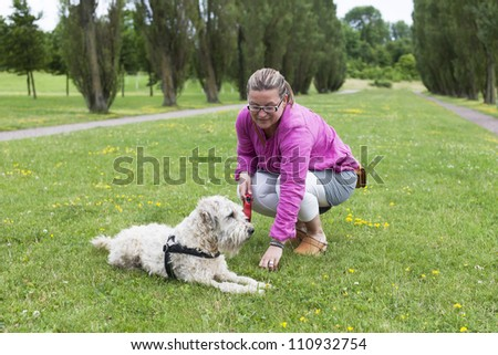 Woman and dog spending time together on a field in the park. - stock photo