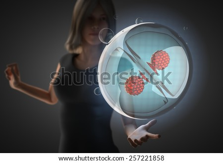 woman and futuristic hologram on hand - stock photo
