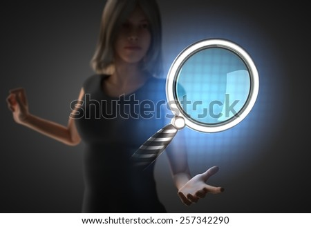 woman and futuristic hologram on hand