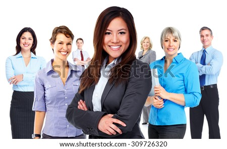 Woman and group of business people. Teamwork background. - stock photo