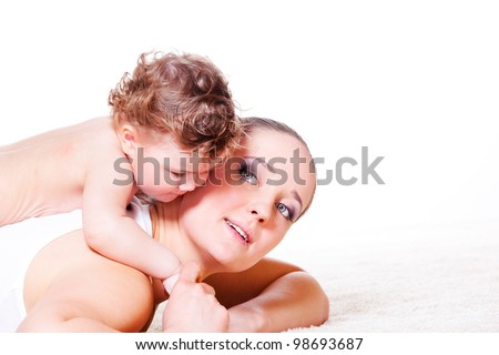 Woman and her baby daughter