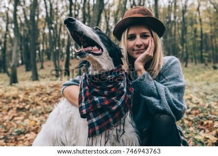 Woman and her dog outdoor
