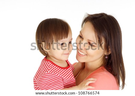 Woman and her kid in a red sweater on a white background