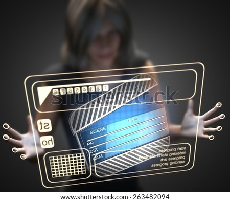 woman and hologram with clapboard