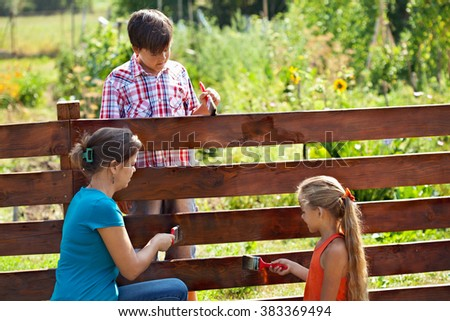 Woman and kids painting the vegetables garden fence in summer