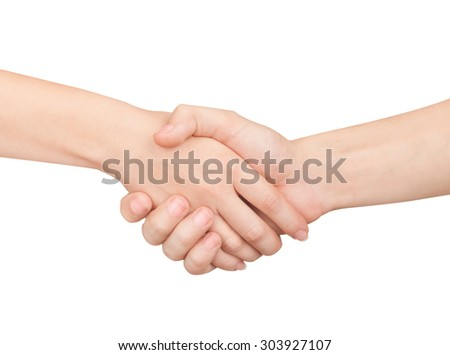 Woman and man handshaking. Isolated on white.