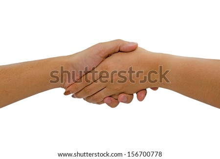 Woman and man handshaking. Isolated on white background. - stock photo