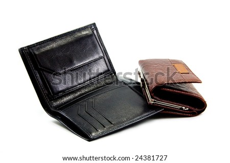 woman and man leather purses isolated over white