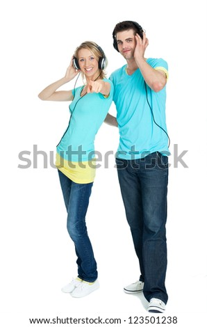 woman and man with headphones - stock photo