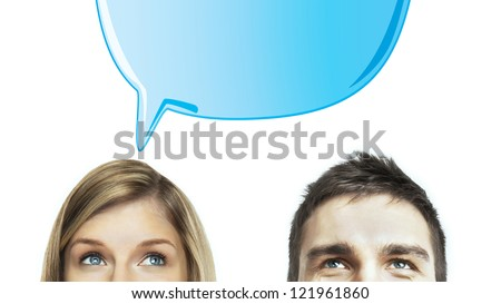 woman and man with speech bubbles - stock photo
