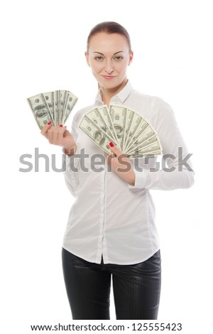 Woman and money Isolated on white background. Close-up. Portrait.Woman takes bills.