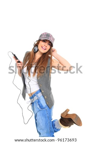 woman and music over white background