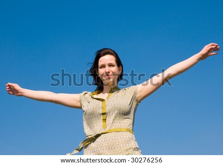 woman and sky - stock photo