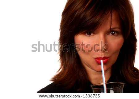 Woman And Straw - stock photo