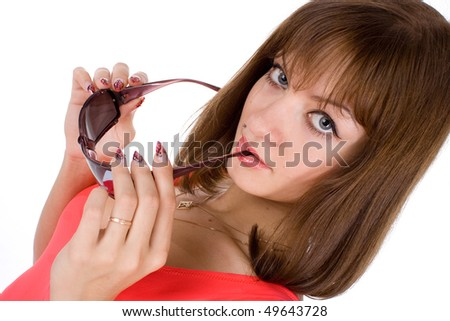 Woman and Sunglasses on a white background