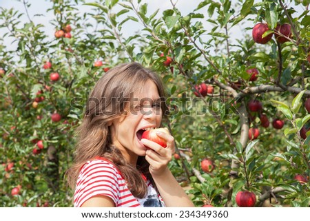 woman apple orchard - stock photo