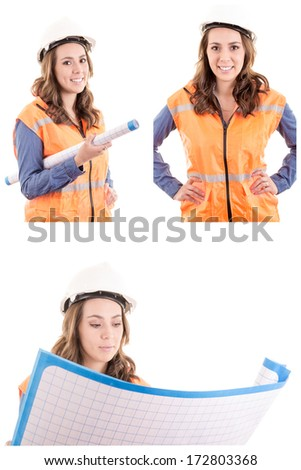 Woman Architect at work site with blueprints set - stock photo