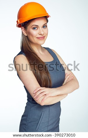 Woman architect isolated portrait. Smiling business woman. Cossed arms. - stock photo