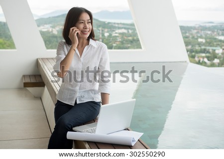 Woman Architect Working Home Office Stock Photo 288105458