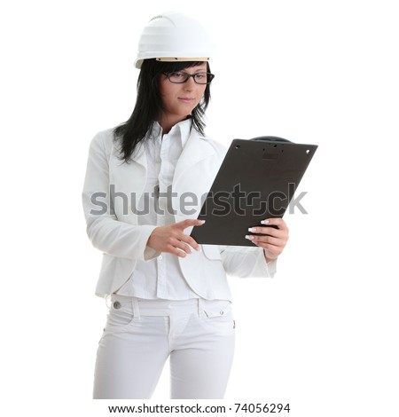 Woman architects in white helmet isoalted on white - stock photo