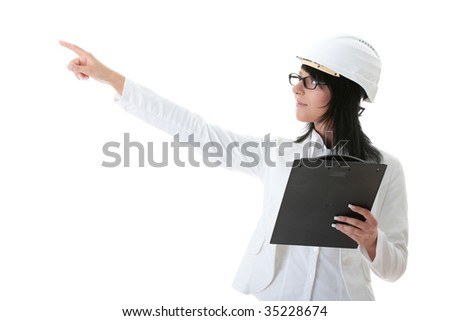 Woman architects in white helmet isolated on white - stock photo
