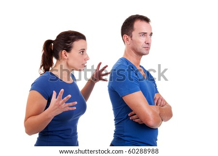 woman arguing with a man, isolated on white, studio shot - stock photo