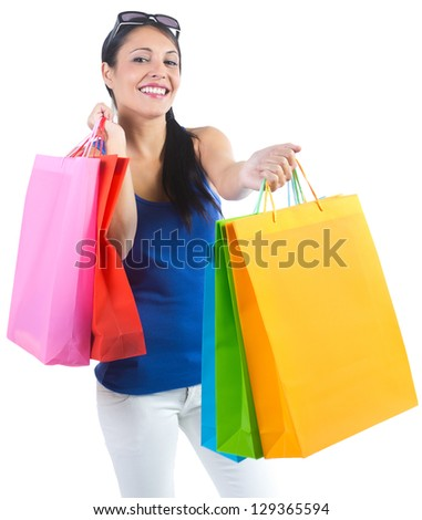 woman arms handing shopping bags on a white background