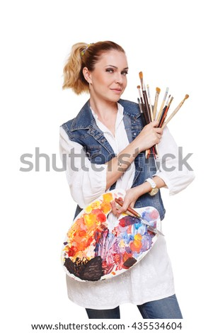 Woman artist isolated at white. Blonde middle aged woman with brushes and palette, painter. Fine art courses, college, academy. Art classes for adults, education concept. - stock photo