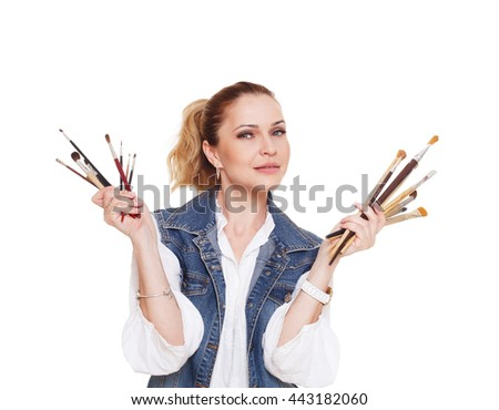 Woman artist isolated at white. Blonde middle aged woman with brushes, painter portrait. Artistic hobby, creative person. Fine art, art classes, education concept. professional artist. - stock photo