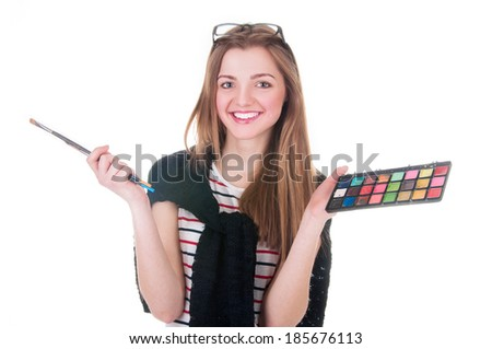 woman artist with brushes and palette