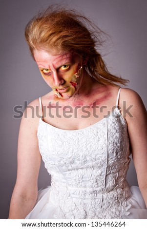 Woman as a Zombie Bride - stock photo