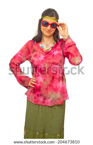 woman as hippies - stock photo