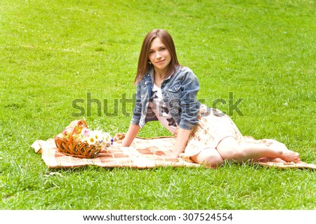 woman at a picnic in the park