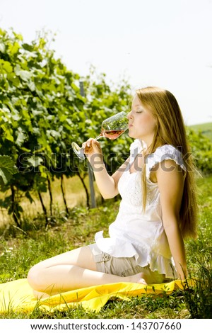 woman at a picnic in vineyard - stock photo