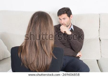 woman at psychotherapy - stock photo