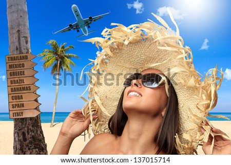 Woman at the beach in tropical resort Travel concept - stock photo