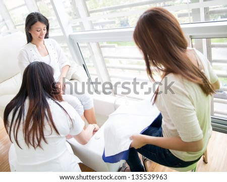 Woman at the beauty salon getting a pedicure