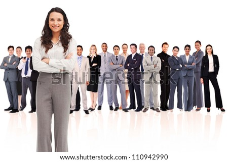 Woman at the left side against a white background - stock photo