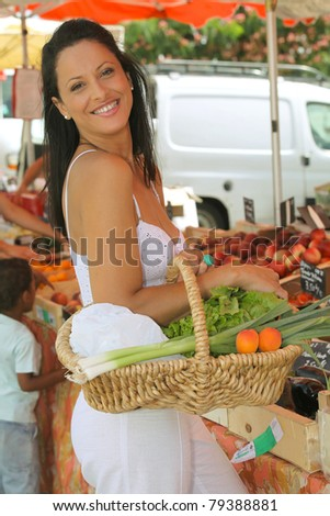 Woman at the market - stock photo