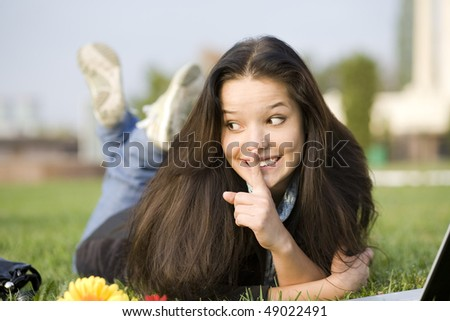 Woman at the summer park - stock photo
