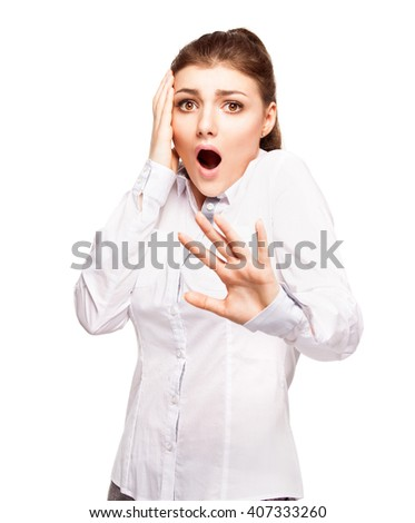 Woman at white background. Young frightened female isolated - stock photo