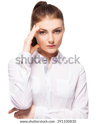 Woman at white background. Young sad female isolated - stock photo
